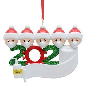 2020 Survivor Familie Customized Weihnachtsdekoration Kit Kreative Neujahr Ornament-Kind-Geschenk für Familie mit Gesichtsmaske Weihnachten Hand Sanitized