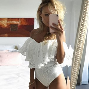 Fashion Women Lady Lace Bodysuit Elegant Off shoulder Ruffles Leotard Summer Sleeveless Evening Party Club Romper Streetwear
