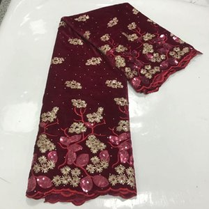 Wonderful wine African smooth velvet lace farbic with nice sequins for party dress VRV3(5yards lot)