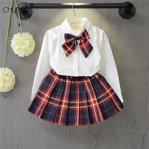 Baby Girl's Clothes Autumn Outfit Long Sleeve T-shirt + Plaid Pleated Skirt 2 pcs Children School Uniform Clothing Baby Girl Set 0926