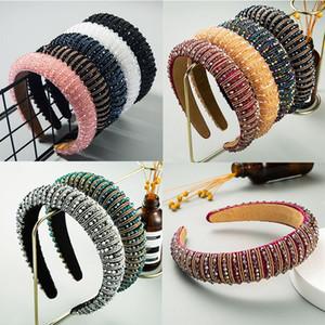 Regenbogen-Blumen wulstige Haarband für Frauen Kopf Lünette Haar-Band Rhinestone-Perlen-Stirnband 11 Arten DWB1776