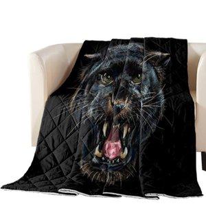 Animal Black Panther stampato Oversize estate Quilt Copriletto Coverlet Coperta Consolatore copriletto per adulti Tessile per la casa