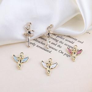 10pcs Angel Enamel Charms Pendants Oil Drop Gold Tone Metal Dance Girl Pendants DIY Earring Bracelet Jewelry Accessories FX389