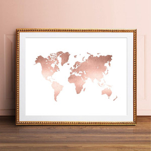 Rose Gold Wold Map Print Office Decor , Modern Minimalism World Map Poster Canvas Painting for Living Room Home Wall Art Picture