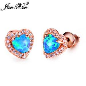 JUNXIN Cute Heart Stud Earrings For Women Rose Gold Filled Blue Fire Opal Earrings Female Rainbow Zircon Birthstone CZ