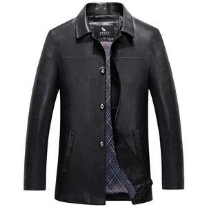 Men's Genuine Leather Long Jacket Brand Windbreaker Man Leather Jackets Winter Long Coat Plus Size 5XL 4XL Men's Jackets