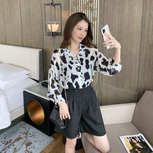 37lyr Set New online red 2020 Autumn Shorts shirt women's Korean style loose slimming lapel leopard print waist high shirt shorts two-piece s