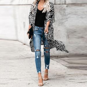 womens designer Chiffon cloak Medium and Long Beach sunscreen clothing female bikini blouse 85471