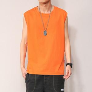 Summer new loose sleeveless T-shirt men's tide brand ins handsome student vest cotton jacket mens designer t shirts