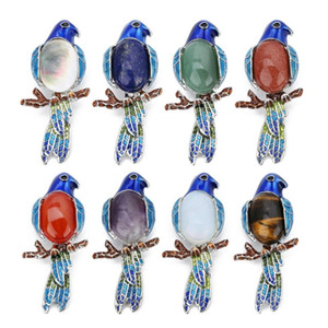 LINSOIR 2020 Cute Animal Parrot Brooch Natural Tiger Eye Rose Quartzs Lapis Lazulis Stone Cabochon Pin Brooches Jewelry