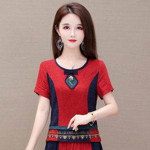 qZQ0J rCuCl top embroidered top new short 2020 Summer women's ethnic style slim Elegant nationality Embroidery nationality large short sleeve