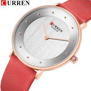 Curren 9033 Red Watches for Women Ladies Dress Quartz Genuine Leather Wrist Watch Simple Classic Female Clock Bayan Kol Saati