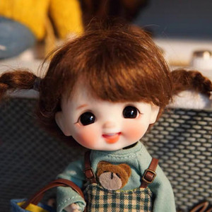 obitsu OB11 BJD 11CM Doll toys 19 joint Top Quality Chinese Doll BJD Ball Joint Doll Fashion Gift Bib + head + wig + body T200428