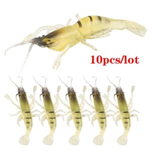 10pcs Lot 5.5cm 1.3g Bionic Prawn Lure Soft Bait Fishing Lure Set Kit Bass Pike Trout Artificial Shrimp Lures Freshwater Saltwater Fishing