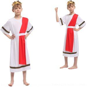 roupas infantis PjrNl Halloween tong li fu tong li fu desempenho formal, vestido infantil faraó egípcio Príncipe flor vestido Pha