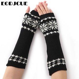 2020 New Women's Long Gloves Winter Snowflake Gloves Arm Knitting Striped Mitten Warm Fingerless Femme For Women