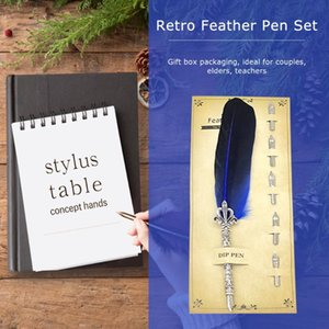 Retro Calligraphy Feather Dip Pen Advertising Party Favors ink Pen Dip Water Metal Fountain Set Birthday Gift Box 5 Nibs