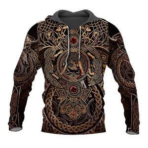 Liumaohua Newest Fashion Viking Warrior Tattoo 3D Printed Shirts casual 3D Print Hoodies Sweatshirt Zipper Man Women tops 005