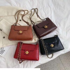 Cadena diseñador de Piedra PU de los bolsos de cuero Crossbody para las mujeres 2019 Solid color del hombro Messenger Bag Señora de viaje bolsos y monederos