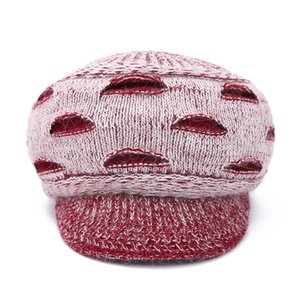 2020 New Fashion Winter Women Fur Beret Hat Elegant Ladies Solid Flat Cap Thicken Warm Earmuffs Knitted Wool Beanie Hat