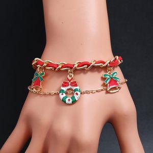 Wukaka Cute Cartoon Jingle bells Noël Chaussettes Fleur Bracelet Père Noël Arbre Bracelet Bijoux Girl Boy