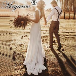 Mryarce 2020 Simply Elegant Crepe Rustic Wedding Dress A Line Sleeveless V Back Bridal Gowns