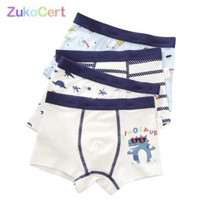 4 teile / los baumwolle shorts jungen unterwäsche kinder unterwäsche boxer slips höschen cartoon muster weicher kinder jugendlicher 4- lj200911
