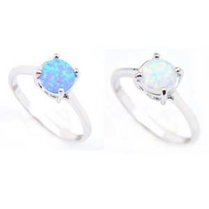 Luckyshine 12 Pcs Lot Valentine's Day Gift Round Blue White Fire Opal Gemstone Ring 925 Sterling Silver Plated Wedding Ring Jewelry For