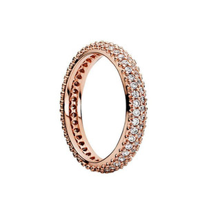100% 925 Sterling Silver RINGS With Cubic Zircon Original box For Pandora Fashion Ring for Valentines Day Rose Gold Wedding Ring Women