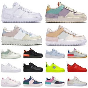 air force 1 af1 shadow shoes Zapatos de plataforma hombres mujeres zapatillas de deporte de moda triple white Crimson Pastel Coral Pink mens trainer casual jogging walking