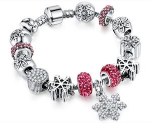 Weihnachtsauflistung DIY lose Perlen Hände Armbänder, Schneeflocke-Legierung und versilberte Charms-Stränge 18 cm-21 cm mit Stoppern Perlen
