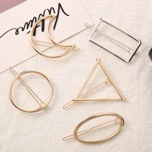 13 Styles Mulheres liga metálica minimalista cabelo clipe oco Geometric Triangle bowknot Lips Forma Grampos rabo de cavalo titular da braçadeira