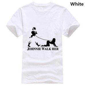 Johnnie Walker accompagnarla Mens divertente Whisky Parodia maglietta Bdsm Bondage Gear Top Fashion Tee