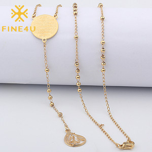 FINE4U N418 Stainless Steel Muslim Arabic Printed Pendant Necklace Gold Color 3mm Beads Necklace Koran Rosary Jewelry For Women