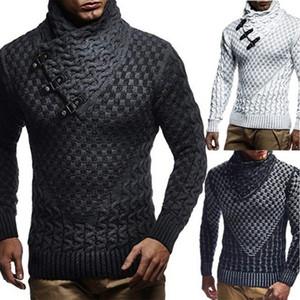 Boucle cuir gros pull à col roulé Hommes Hommes Pull tricoté Casual Automne élastique Tricot Pull Manteau Maille Pull 3XL