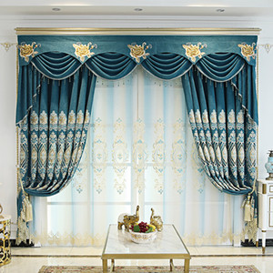 European Style Curtains for Living Dining Room Bedroom Light Luxury Chenille Embroidered Curtains Finished Product Customization