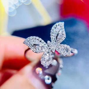 925 серебряные побрякушки циркон камень Индекс бабочки перстни для обручального кольца женщин венчания способа ювелирных изделий