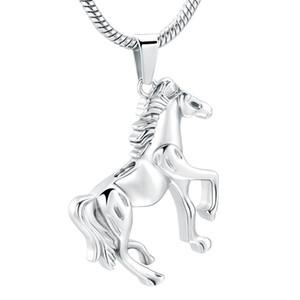 Running Horse Crémation Urne Pendentif en acier inoxydable Mémorial animaux Ashes Porte-Collier d'amant de cheval Collier Keepsake