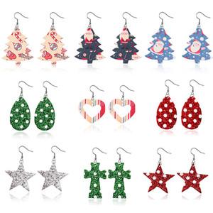 Xmas ciondola gli orecchini per le donne in pelle Faux gancio leggero orecchini di goccia Babbo Natale del fiocco di neve orecchini di goccia gioielli regalo DWD1709