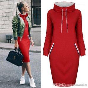 Via con cappuccio Colore solido tasche fino vestito le donne ragazza adolescente vestito dal progettista casuale