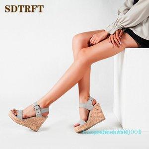 SDTRFT Crossdresser Sexy platform summer 11cm sandals wedges high heels Comfortable pumps women's wedding shoes femmes sandale k03