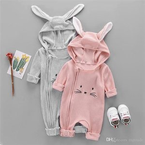 Spring Fall INS Toddler Baby Boys Girls Hoodies Rompers Hooded Jumpsuits Long Sleeve Cat Ears Front Oblique Zippy Newborn Onesies for 0-2T