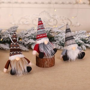 Christmas Ornament Knitted Plush Faceless Santa Claus Doll Christmas Tree Wall Hanging Pendant Holiday Decor Gift Tree Decorations CYZ2821