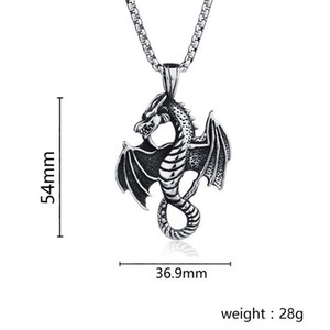 Titanium Steel Flame Dragon Pendant Punk Necklace Retro Fashion Man Stainless Steel Casting of And Fire Jeans Pendant