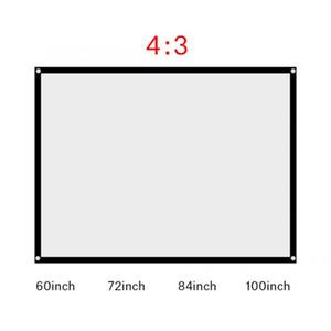 Écran de projection 60-100 pouces portable pliable infroissable Blanc Projecteur rideau Projection écran 4: 3 Telon Para Proyector