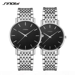 SINOBI SET Couple Watches Top Luxury Quartz Mans Watch Stainless Steel Band Ultra-thin Quartz Time Wristwatch reloj mujer