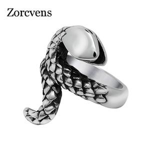 ZORCVENS Урожай нержавеющей стали Snaker кольца Классический ретро Змеи Кольца для женщин большого размера кольца Мужчины партии ювелирных изделий верхнего качества