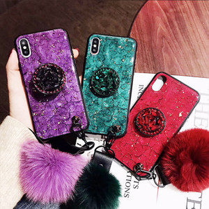 Luxury Diamond Marble Glitter Phone Cases for iPhone X XR XS MAX 7 8 6s Plus holder Ring Silicon Cover For iPhone 11 11 Pro Max