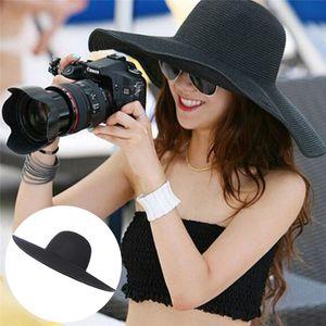 Summer Hats For Women Chapeau Femme Sun Hat Beach Straw Hat Large Wide Brim Black Ribbon Bow Visor Bone Female Cap