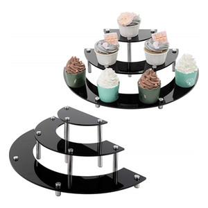 3 уровня Акриловые стояки Дисплей Стенд для фигурку, Прозрачный акриловый Cupcake Stand, Half Moon Десерт Стенд для отображения или коллекции